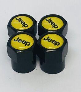 4 x Matt Black YELLOW Tyre Valve Dust Caps (Fits JEEP )