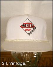 vtg 80s PORTER CODE FOODS snapback TRUCKER HAT CAP white INDIE punk