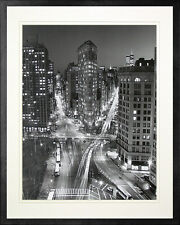 Flatiron Building at Night. New York. Framed Poster Photo Print. Black Frame