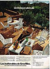 Publicité Advertising 1972 Les Salons de Jardin en plastique Grosfillex
