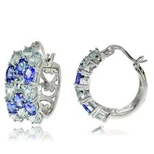 Sterling Silver Aquamarine and Tanzanite 3-Row Hoop Earrings