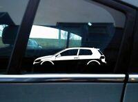 2x car silhouette stickers - for VW Golf Mk7 GTi | GTD , 3-DOOR Volkswagen S09