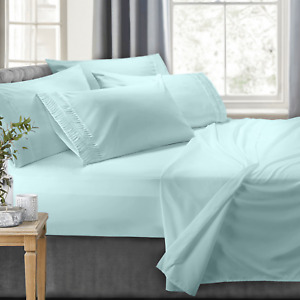 Bed Sheet Set With Luxury Arrow Design 6 Piece Bedding Set 100% Soft Microfiber