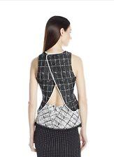 Jonathan Simkhai Peplum Top Ruffled Space Dye Black White Shirt 2 New