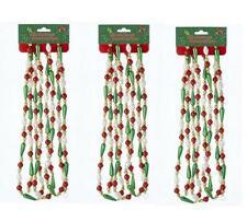 Kurt Adler 9' Green Red and White Bugle Plastic Bead Garland Christmas-Set of 3