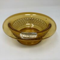 Vintage Amber Glass Bowl Trinket Dish Diamond Point Pattern Curved Rim England
