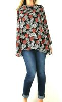 The Masai Clothing Company Tunic Lagenlook Black Smock Top Blouse Floral  Medium