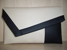 OVER SIZED BLACK & CREAM asymmetrical clutch bag. Fully lined Handmade in the UK