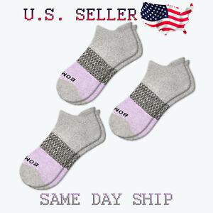3-Pack Bombas Tri-Block Ankle Socks - Grey Lavender - Women's Medium