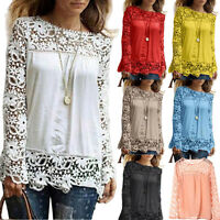 Women's Long Sleeve Tops Embroidery Lace Crochet Tee Chiffon Shirt Loose Blouse