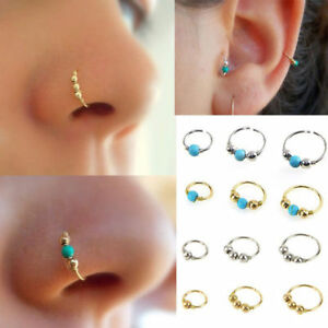 `Unisex High Quality Thin Nose Ring Hoop Fake Body Piercing Jewellery Silver