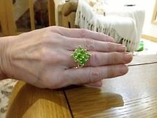 Brand new huge 925 stamped Silver peridot look ring in size R + Gift Box