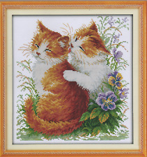 Counted Cross Stitch Kit, Kissing Cats