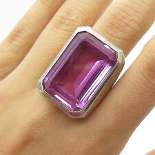 Spain Vtg 925 Sterling Silver Real Amethyst Gemstone Handmade Ring Size 7 1/4