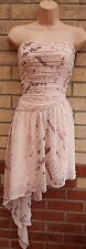 LIPSY PINK NUDE SNAKE SKIN RUCHED LONG ONE SIDE SKATER PARTY BANDEAU DRESS 18