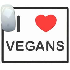 I Love Corazón Veganos - Fino Pictoral Plástico Ratón Libreta Tapete BadgeBeast