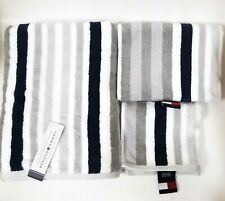 3 PC SET TOMMY HILFIGER GRAY,WHITE,NAVY STRIPE COTTON BATH,HAND TOWEL+WASH CLOTH