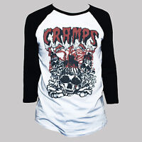 THE CRAMPS T SHIRT 3/4 Sleeve Meteors B-52s Goth Punk Rock Psychobilly Band Tee