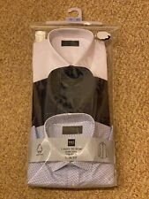 """Marks & Spencer M&S Slim Fit 3 Pack Blue Long Sleeve Shirts Size 17"""" 43cm Collar"""