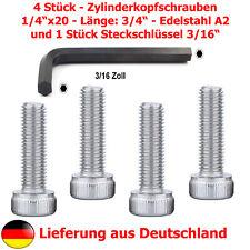 """4xZylinderschraube (1/4""""Zoll, Gewindelänge 19mm, Edelstahl A2)+Steckschlüssel"""