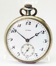 Vintage CYMA Mechanical Pocket Watch. 43mm White Dial. Small Seconds Hand.