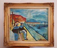 Peinture marine . Marine painting signée CAZIMIR marins bateaux