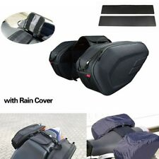Saddle Bag Motorcycle Side Helmet Riding Travel Bags + Rain Cover + Plastics