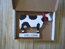 Wooden hanging Cow Welcome with Bell that works