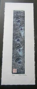 Ocean Jellyfish fish Japanese moku hanga washi woodcut woodblock print signed