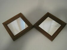 """Set of 2 Home Interiors Wall Hanging Mirrors 5"""" Square Wooden Frame Accent"""