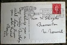 Vintage Best Birthday Wishes for my Friend, Postcard Inter-War 1938 with stamp