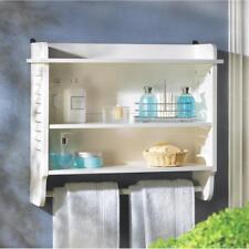 White shutter book shelf Wall mount hanging Towel bar Bathroom Bath storage
