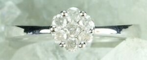 NEW Genuine Solid 9CT White Gold Natural Diamond Engagement Ring   Size L 1/2
