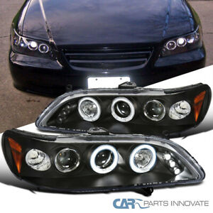 For 98-02 Honda Accord 2/4Dr Matte Black LED Halo Projector Headlights Lamps