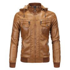 Men'S Leather Hooded Sheepskin Fur Fleece Jacket Motorcycle Parka Warm Outwear