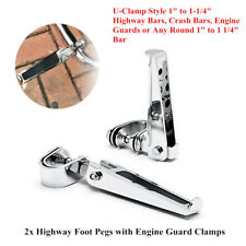 "2xMotorcycle 1-1/4""Highway Engine Guard Crash Bar U-clamp Foot Pegs Footrest Kit"