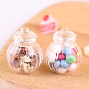 1:12 Puppenhaus Miniatur Runde Glasflasche Candy Jar Mini Candy Flasche Mod BOD