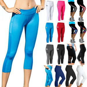 Women Fitness Yoga Cropped Leggings Gym Sports Pants 3/4 Length Trousers Bottoms