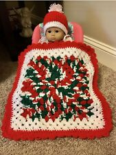 Christmas Handmade Crocheted American Girl Bitty Baby Blanket & Hat With PomPom