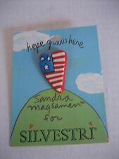 Sandra Magsamen for Silvestri Hope Grows Here American Flag Heart Lapel Pin New