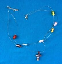 Vintage Double Strand Glass Beads & Wire Glass Cross Pendant 18 19 necklace NR