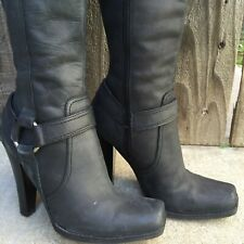 Genuine Leather Guess Biker Boots Ash Black Distressed 6-6.5 Harness