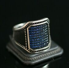 925 Sterling Silver Handmade Authentic Turkish Sapphire Men's Ring Size 7-13