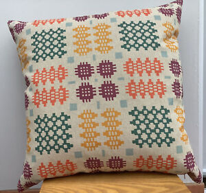 """Welsh Blanket Print Cushion Multi Coloured 16""""x16"""""""