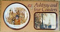 Vista Ware Ashtray And 4 Coaster Set England Scenes Vintage Gift Set