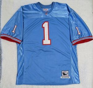 Warren Moon #1 Houston Oilers Football Jersey Throwback Mitchell & Ness Stitched