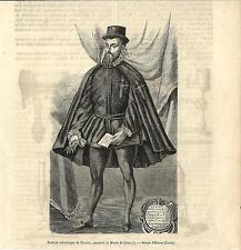 Stampa antica FRANCISCO PIZARRO Spagna Perù 1854 Antique Print Grabado antiguo