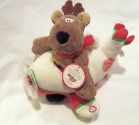 "Hallmark Rodney Reindeer ""Up, up and Away Rodney Reindeer"" Musical Plush 1XAG..."