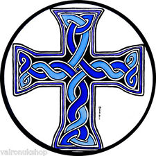 STAINED GLASS WINDOW ART - STATIC CLING  DECORATION - CELTIC DONEGAL CROSS BLUE