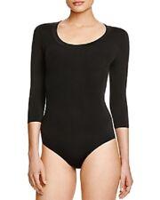 FALKE Bodywear Sz III L 44-46 Black 3 Quarter Sleeve Body Suit Fine Cotton 40913